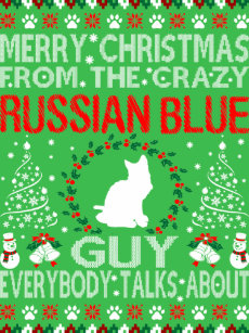 merry christmas russian blue cat guy ugly sweater - Russian Merry Christmas