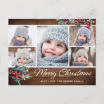 """Merry Christmas Rustic 5 PHOTO Collage Greeting Postcard<br><div class=""""desc"""">Merry Christmas Rustic 5 PHOTO Collage Greeting Postcard.</div>"""