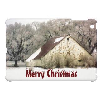 Merry Christmas Rustic Barn Snow Scene Winter iPad Mini Case