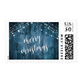 Merry Christmas Rustic Blue Wood with White Lights Postage