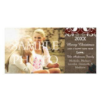 Merry Christmas Rustic Burlap Holiday Photo Card
