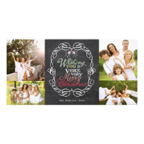 Merry Christmas Rustic Chalkboard Mistletoes Photo Card
