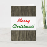 """[ Thumbnail: """"Merry Christmas!"""" + Rustic Faux Wood Look Pattern Card ]"""