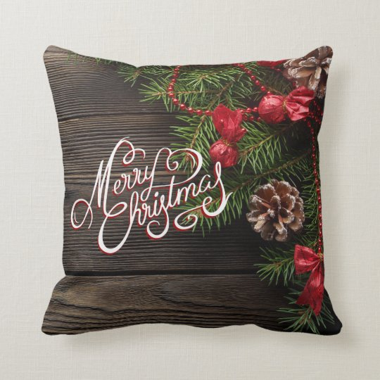 Merry Christmas Rustic Holiday Wood Garland Throw Pillow ...