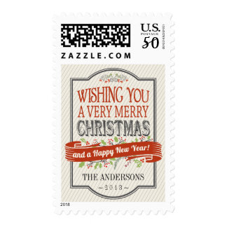 Merry Christmas Rustic Pub Sign Typography Postage