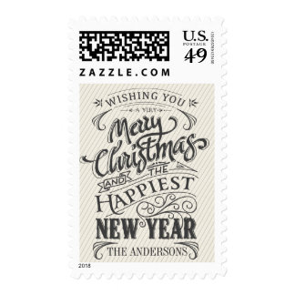 Merry Christmas Rustic Sign Typography Postage
