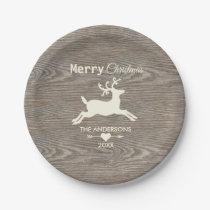 Merry Christmas Rustic Wood Reindeer Beige Paper Plate