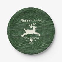 Merry Christmas Rustic Wood Reindeer Green Paper Plate