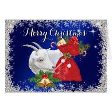 Merry Christmas Saanen Goat Christmas Card