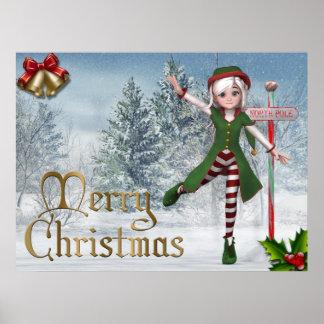 Merry Christmas Sadie Elf Print