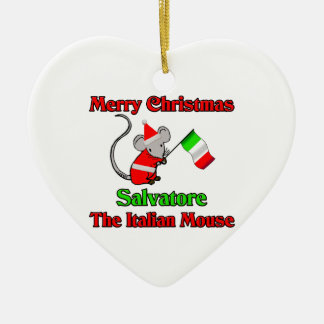 Merry Christmas Salvatore The Italian Mouse Double-Sided Heart Ceramic Christmas Ornament