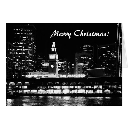 Merry Christmas! San Francisco at night Greeting Cards