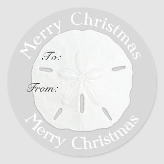 Merry Christmas Sand Dollar Gift Tag Classic Round Sticker