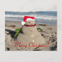 Merry Christmas! sandman snowman Holiday Postcard