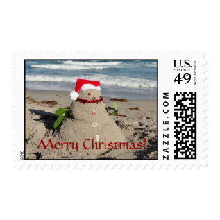 Merry Christmas Sandman Snowman Stamp #2 at Zazzle