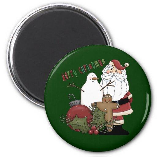 Merry Christmas Santa 2 Inch Round Magnet
