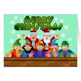 Merry Christmas Santa and Elves Card