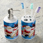 Merry Christmas Santa And Friends Soap Dispenser And Toothbrush Holder