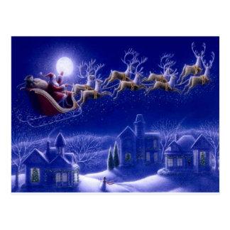 Merry Christmas Santa and His Sleigh Postcard