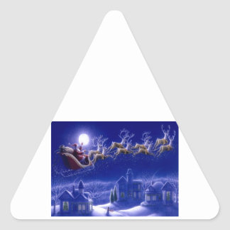 Merry Christmas Santa and His Sleigh Triangle Sticker