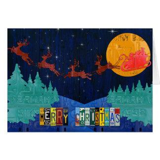 Merry Christmas Santa and Sleigh License Plate Art Card