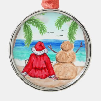 Merry Christmas Santa and Snowman on Beach Metal Ornament