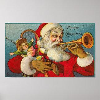 Merry Christmas Santa and Toys Print