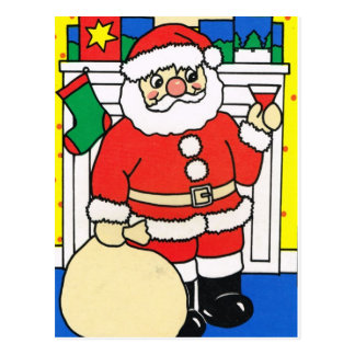 Merry Christmas, Santa at the fireplace Postcard