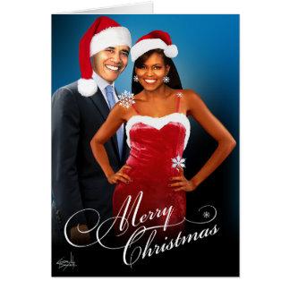 Merry Christmas Santa Barack Michelle Obama Card