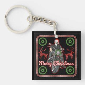 Merry Christmas Santa Biker Motorcycle Holiday Keychain