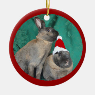 Merry Christmas Santa Bunnies Happy New Year too Ceramic Ornament