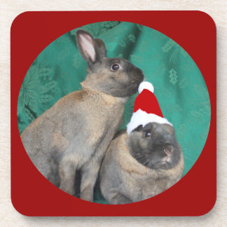 Merry Christmas Santa Bunnies Happy New Year too Drink Coasters