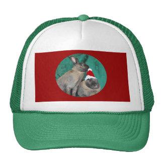 Merry Christmas Santa Bunnies Happy New Year too Hat