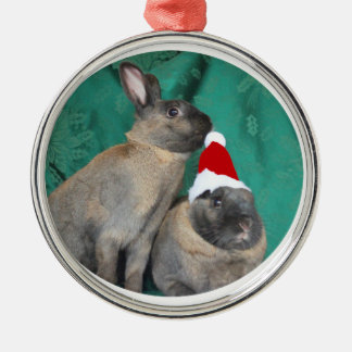 Merry Christmas Santa Bunnies Happy New Year too Metal Ornament