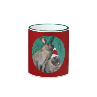 Merry Christmas Santa Bunnies Happy New Year too Coffee Mug