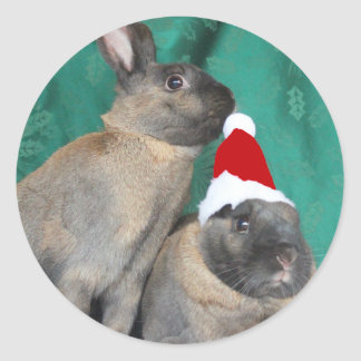 Merry Christmas Santa Bunnies Happy New Year too Stickers