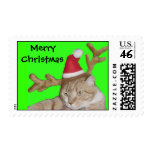 Merry Christmas Santa Cat with Antlers Postage