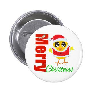 Merry Christmas Santa Chick Button