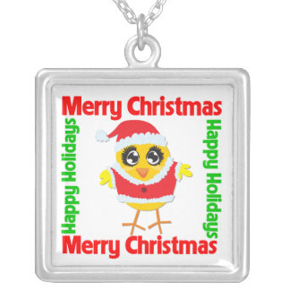 Merry Christmas Santa Chick Square Pendant Necklace
