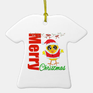 Merry Christmas Santa Chick v2 Double-Sided T-Shirt Ceramic Christmas Ornament