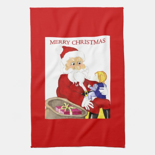 Merry Christmas Santa & Child kitchen towel