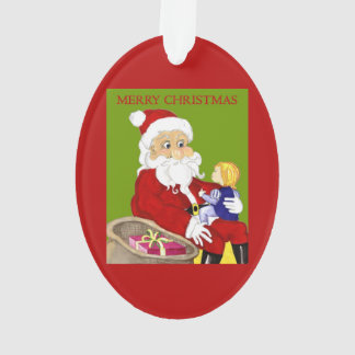 Merry Christmas Santa & Child ornament oval