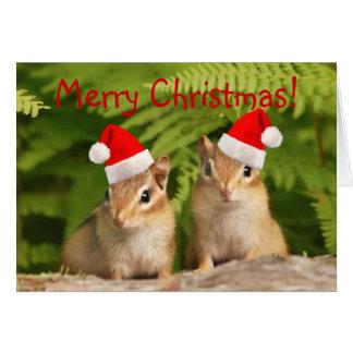 Merry Christmas Santa Chipmunks Card