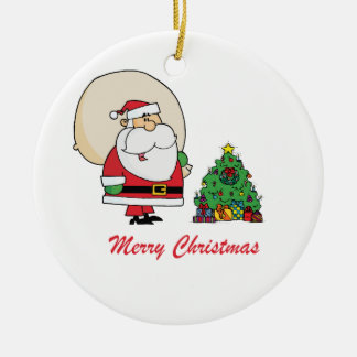 Merry Christmas Santa Claus and a Christmas Tree Ceramic Ornament