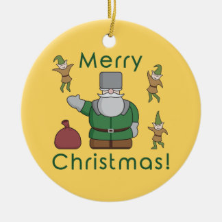 Merry Christmas Santa Claus and Elves Ceramic Ornament