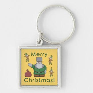 Merry Christmas Santa Claus and Elves Keychain