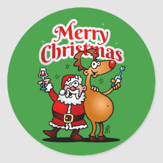 Merry Christmas - Santa Claus and his Reindeer Classic Round Sticker