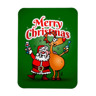 Merry Christmas - Santa Claus and his Reindeer Magnet