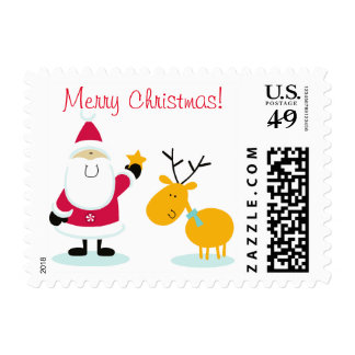 Merry Christmas Santa Claus and Reindeer Postage Stamp