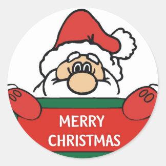 Merry Christmas Santa Claus Classic Round Sticker
